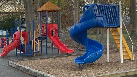The playground equipment at Dickinson Avenue Elementary School