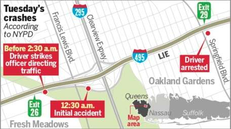 A map showing Tuesday's crashes, according to the