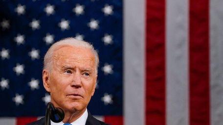 President Joe Biden addresses a joint session of