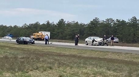 Part of the crash scene on Sunrise Highway