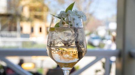 A Boris and Natasha cocktail featuring cherry blossoms