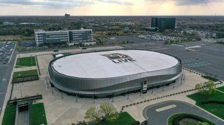 Aerial of Nassau Coliseum in Uniondale, the center