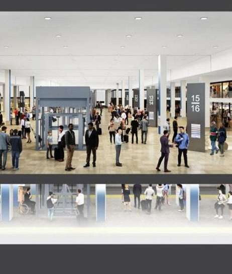 Rendering of the single-level alternative, west concourse looking