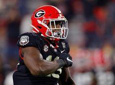 Azeez Ojulari #13 of the Georgia Bulldogs reacts