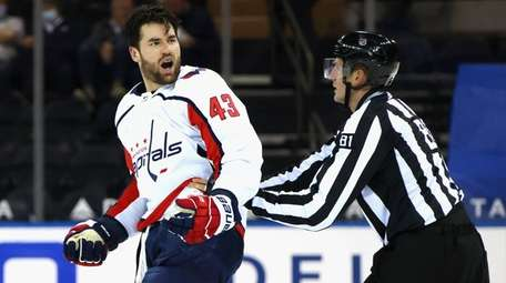 Tom Wilson of the Capitals yells at the