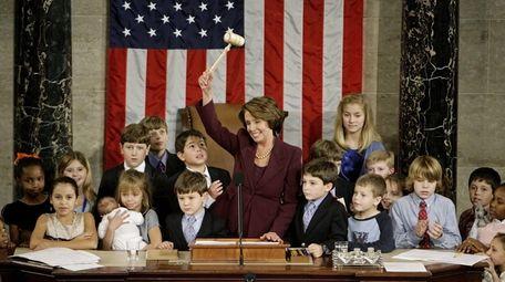 Speaker of the House Nancy Pelosi waves her
