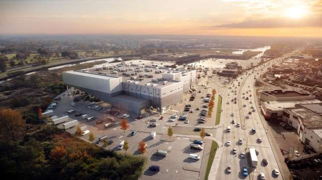 A rendering of the JFK Logistics Center on
