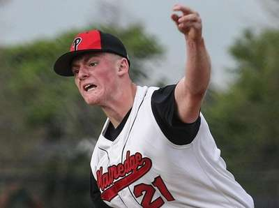 Plainedge starting pitcher Dom Tuozzo delivers to the