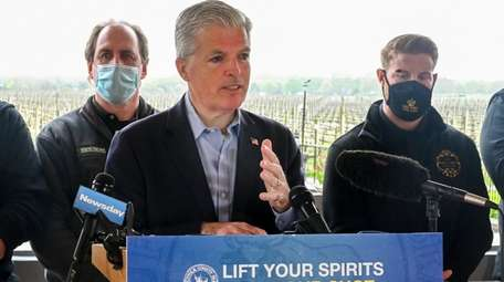 Suffolk County executive Steve Bellone speaks at Raphael