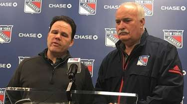 Rangers general manager Jeff Gorton, left, and team