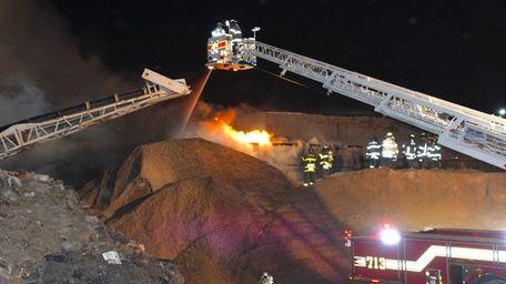 "A ""massive"" fire at a Westbury trash facility"