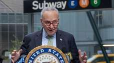 Senator Chuck Schumer speaks at a news conference