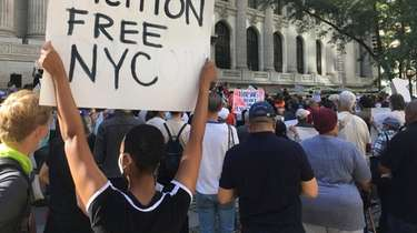 Protesters marched for rent relief in Manhattan in