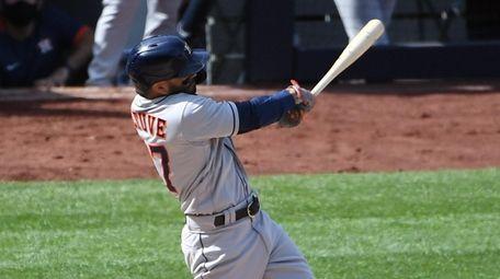 Houston Astros second baseman Jose Altuve hits a