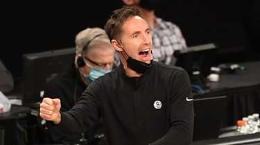 Nets head coach Steve Nash reacts during the