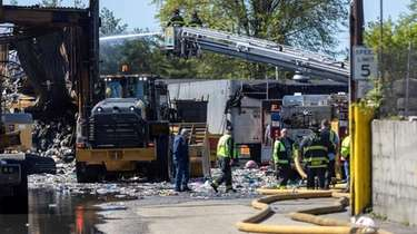 The fire at a Westbury garbage facility began