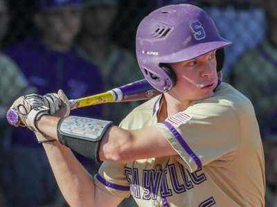Jack Quinlan #6 of Sayville hits a single