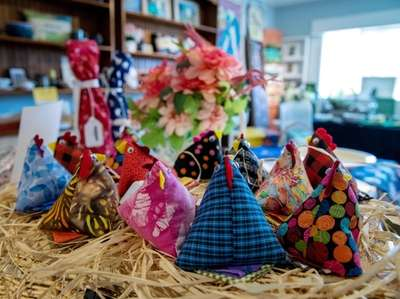 """""""Spring chicken"""" pin cushions created by Cathy Campbell."""