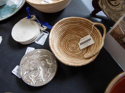A woven bowl handmade by Christine Hartman.