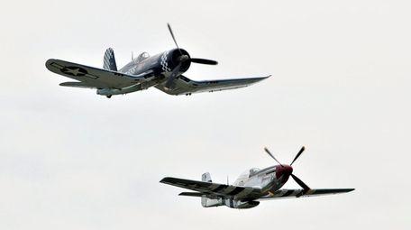 Aerobatic pilots aboard a blue F4U Corsair, top