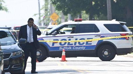 A crime scene on South Ocean Avenue in