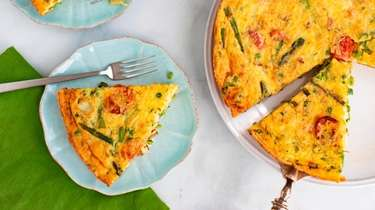 A simple spring frittata with asparagus, sweet peas,