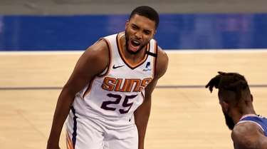 Mikal Bridges #25 of the Phoenix Suns celebrates