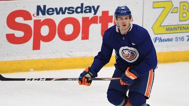 Islanders defenseman Bode Wilde skates during a hockey