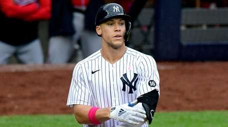 Aaron Judge of the Yankees reacts after drawing