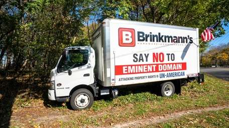A truck with a message opposing Southold Town's
