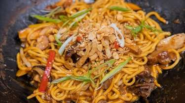 Stairway to Heaven — egg noodles with meat,