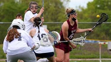 Bay Shore midfielder Lola Leone tries to control