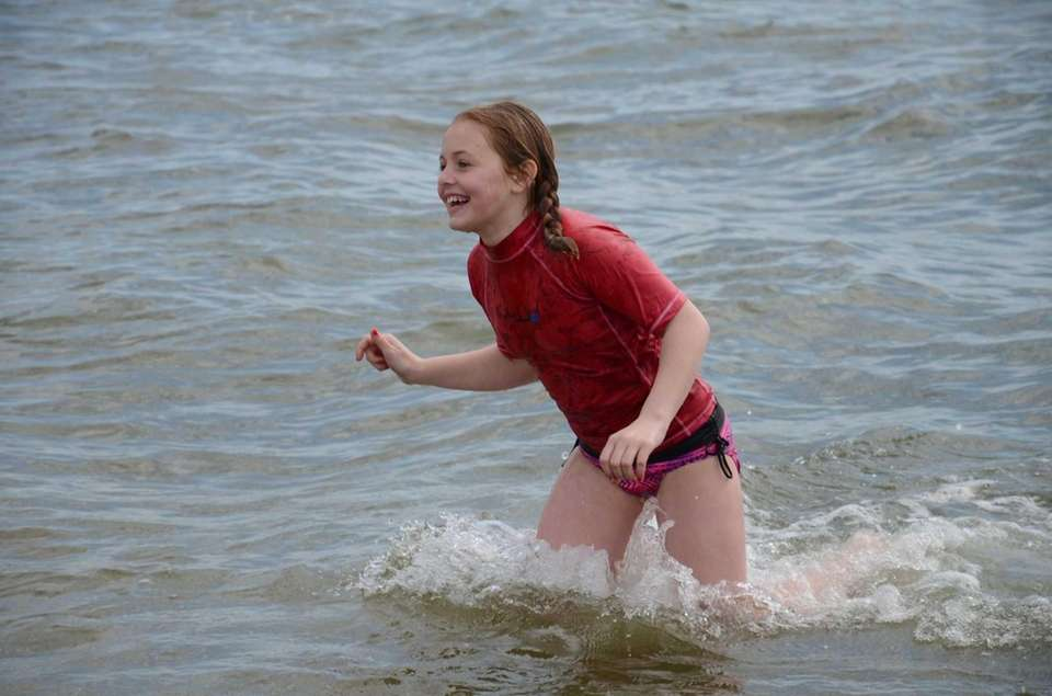 Jillian Knopf, 11, of Sayville, frolicked in the
