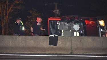 Suffolk County police investigate a crash on the