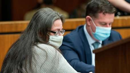 Angela Pollina is seen at a pre-trial