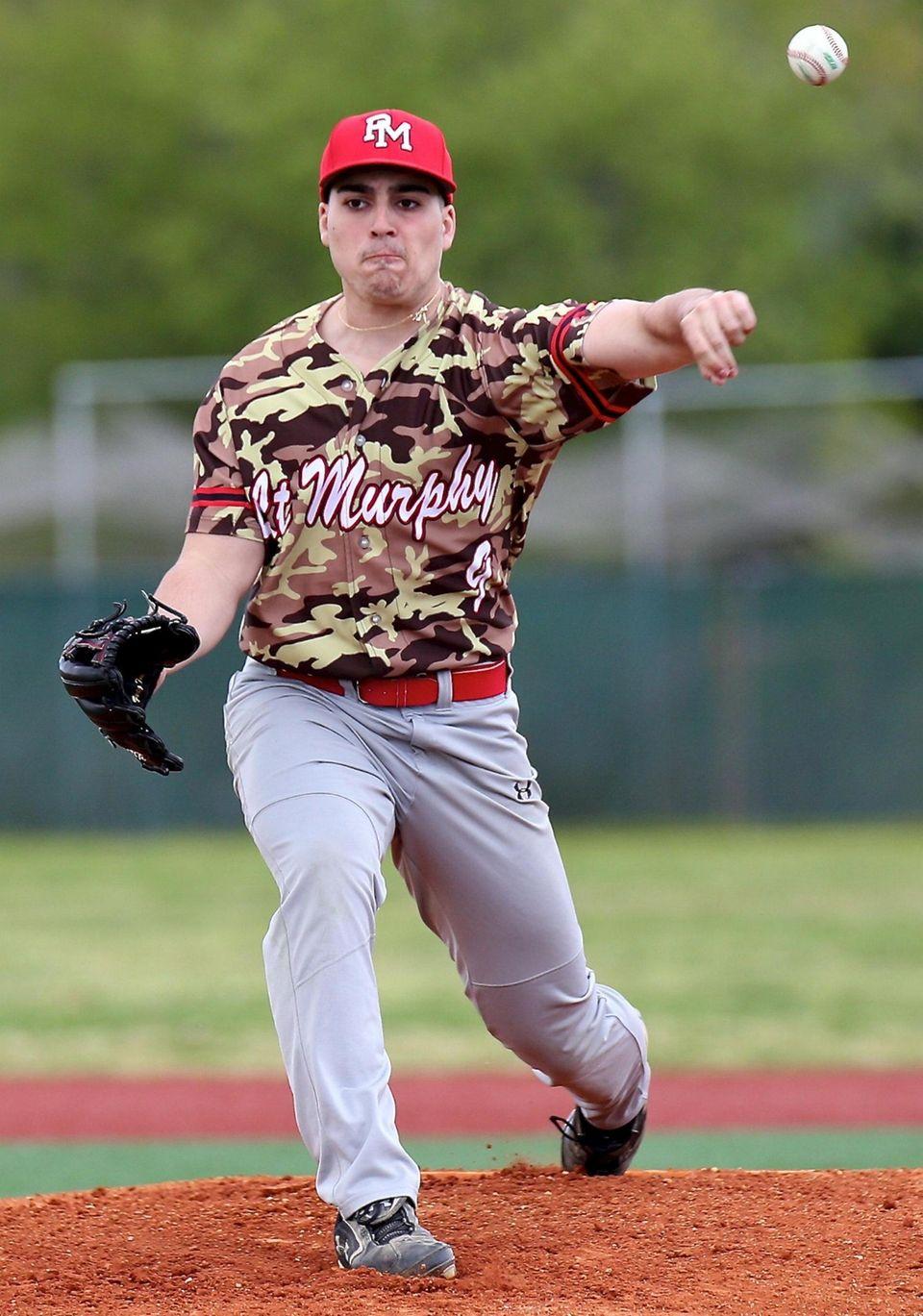 Patchogue Medford starting pitcher Tristin Verni delivers a