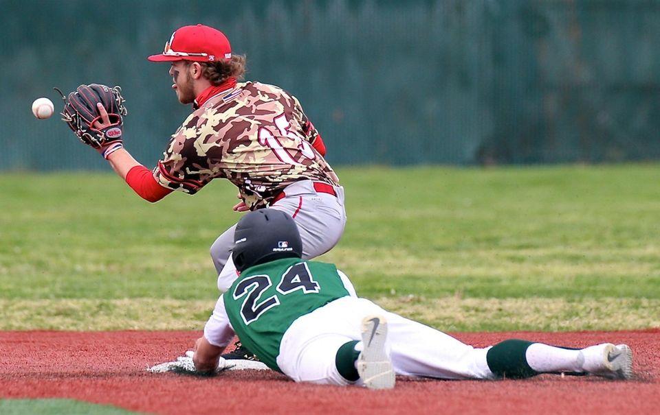Longwood's Jake Hall slides safely into second base,