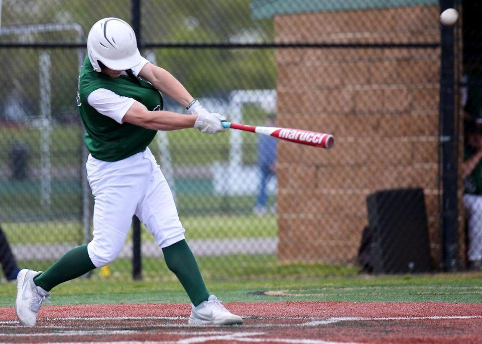 Longwood's Louis Kaleb drives a home run over