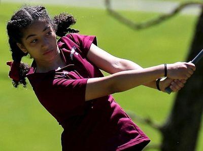 Southampton's Ella Coady tees off on the 10th