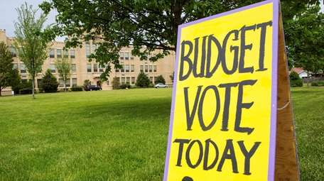 Signage for the budget vote at Greenport School