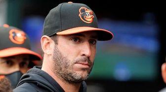 Matt Harvey #32 of the Baltimore Orioles looks