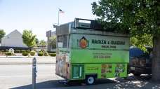A food truck on South Broadway, between East