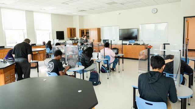 A newly constructed classroom at the Bridgehampton School