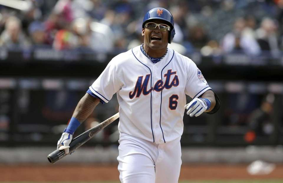 Marlon Byrd reacts after striking out swinging during