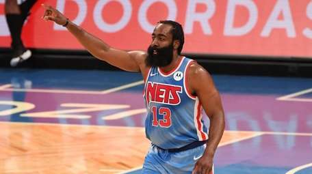 Brooklyn Nets guard James Harden gestures against the