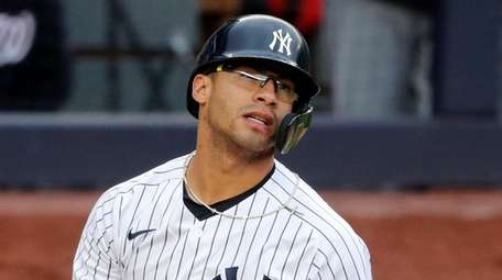 Gleyber Torres #25 of the Yankees reacts after