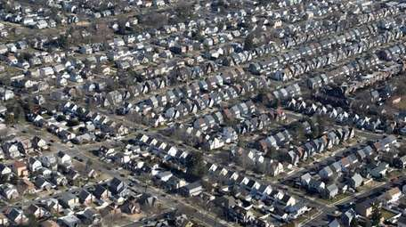 An aerial view of homes in Long Island.