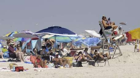 People gather at Field 2 at Jones Beach.