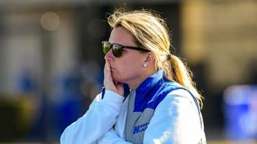 Hofstra women's lacrosse coach Shannon Smith watches during