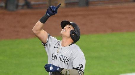 Gio Urshela #29 of the Yankees celebrates a